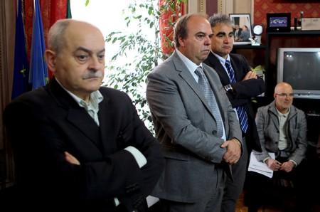 Fabio Macedoni durante una conferenza in Provincia