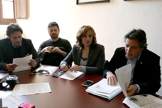 I consiglieri di Forza Italia Francesco Luciani, Francesco Formenini, Debora Pantana e Fabio Pistarelli