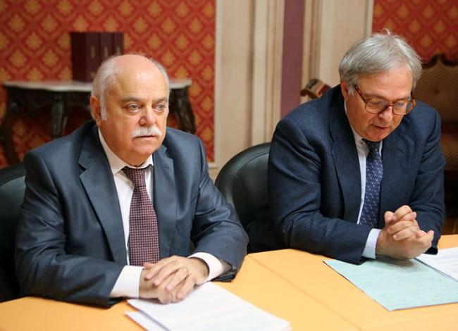 Antonio Pettinari, presidente della Provincia, e il presidente della Regione Gian Mario Spacca