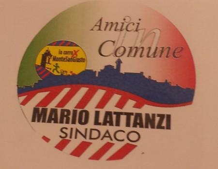 """Il simbolo di """"Io corro per Monte San Giusto"""" contenuto all'interno di quello """"Amici in Comune"""" per Mario Lattanzi sindaco"""