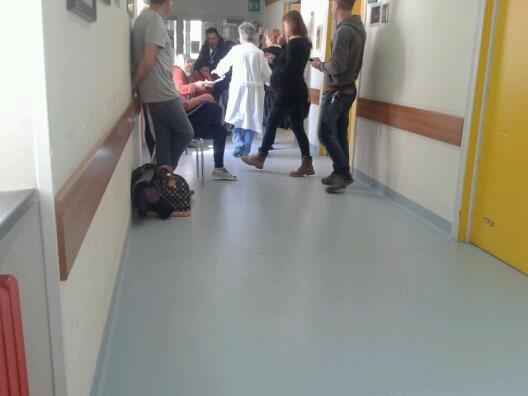 Le donne in attesa nel reparto di Ostetricia dell'ospedale di Macerata nella giornata di ieri