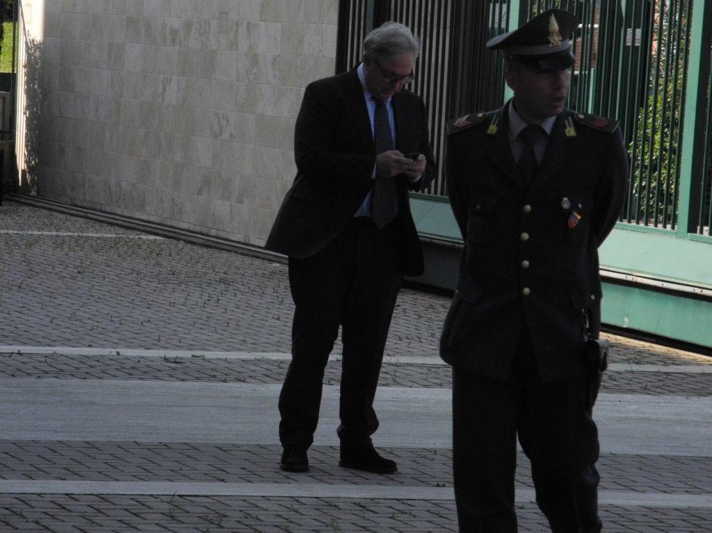 Il Governatore Gian Mario Spacca oggi al suo arrivo a Fontadamo di Jesi