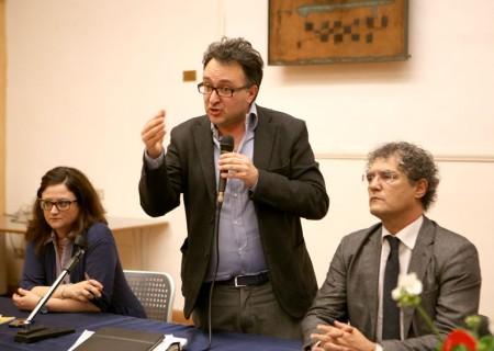 Massimiliano Bianchini e Bruno Mandrelli durante un incontro pubblico