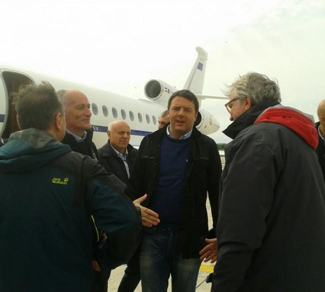 L'arrivo del premier Matteo Renzi