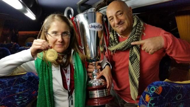 Il fotoreporter Guido Picchio con la presidente Simona Sileoni