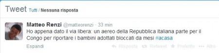 Il tweet di Matteo Renzi