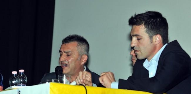Francesco Acquaroli e Fausto Cavalieri durante il confronto pubblico