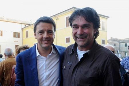 Il sindaco di Acquacanina Giancarlo Ricottini con Matteo Renzi