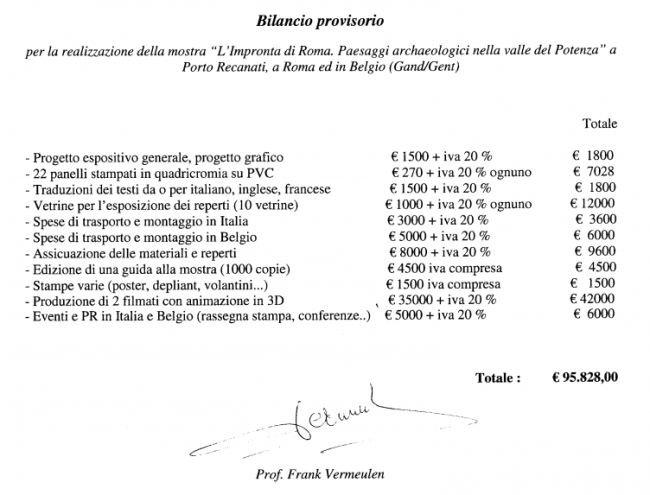 Il budegt della mostra L'impronta di Roma calcolato nel 2010 dal professor Vermeulen dell'Università di Gent