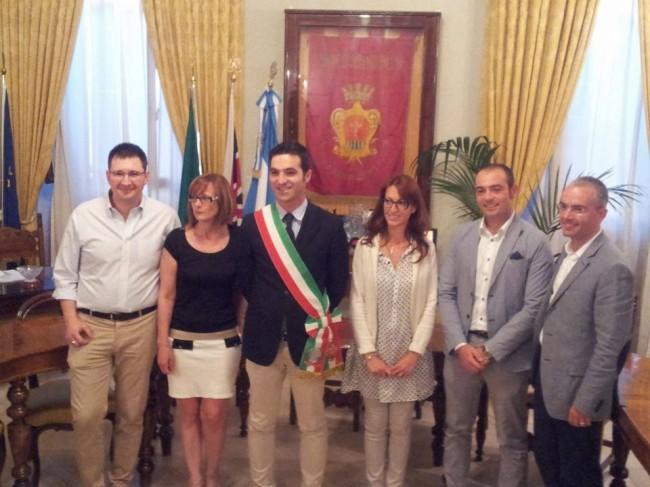 Da sinistra Alessandro Mazzoni, Luisa Isidori, il sindaco Acquaroli, la vicesindaco Noemi Tartabini, Paolo Scocco e Luca Strovegli