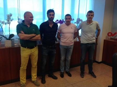 Cristian Pazzi presentato dal presidente del Matelica Mauro Canil
