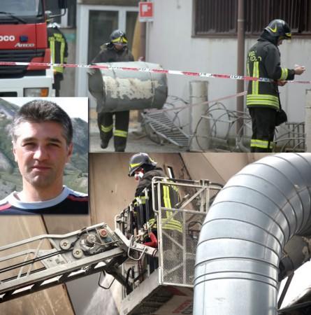 L'esplosione in una falegnameria a Recanati in cui è rimasto gravemente ferito il vigile del fuoco Roberto Torregiani