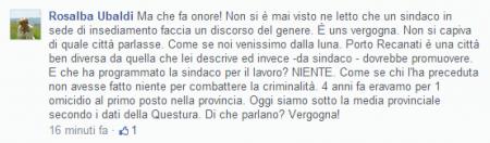 Su Facebook l'ex sindaco Ubaldi parla di vergogna riferendosi ad alcune valutazioni della Montali sulla città