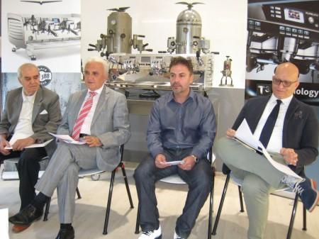 Da sinistra: il vice presidente Sandro Feliziani, il presidente Nando Ottavi, l'amministratore unico della società americana Robert Bresciani,  il direttore commerciale Cosimo Libardo