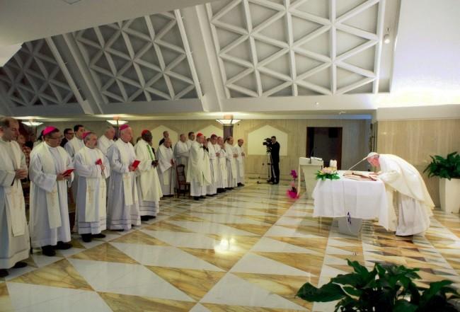 La concelebrazione della messa con Padre Giuseppe Verdicchio e Papa Francesco