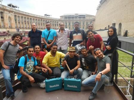 Il gruppo di tecnici allo Sferisterio accompagnati da Luciano Messi e Mauro De Santis