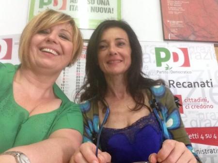 Il segretario provinciale del Pd Teresa Lambertucci stamattina con il sindaco Sabrina Montali
