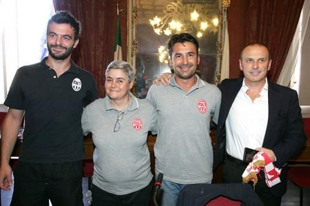 Mattia Benfatto, Maria Francesca Tardella, Giuseppe Magi e Sandro Teloni durante la recente presentazione dell'accordo al Comune di Macerata