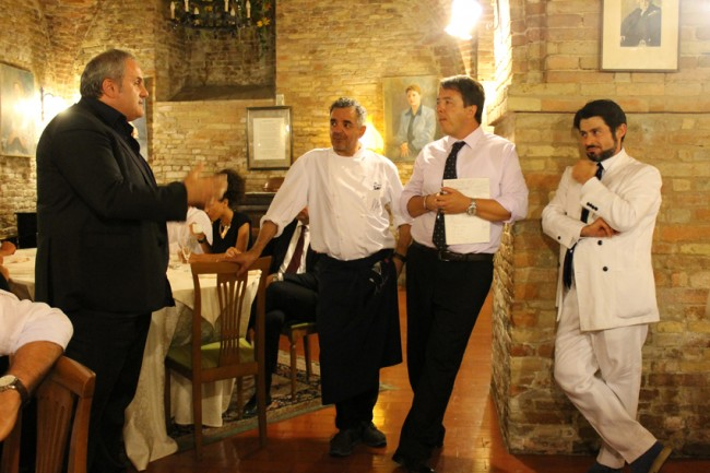 L'ex sindaco di Montecosaro Stefano Cardinali, Mauro Uliassi, Francesco Annibali e Marco Eleuteri