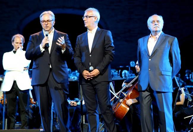 Il presidente Gian Mario Spacca, il sindaco Romano Carancini e il presidente della provincia Antonio Pettinari