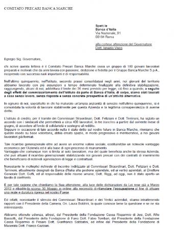 La prima delle due pagine della lettera inviata dai giovani precari Banca Marche ad Ignazio Visco