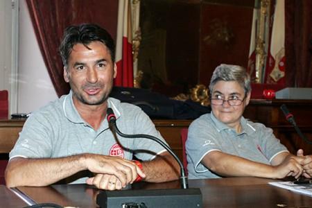 L'allenatore della Maceratese Giuseppe Magi in compagnia della presidente Maria Francesca Tardella