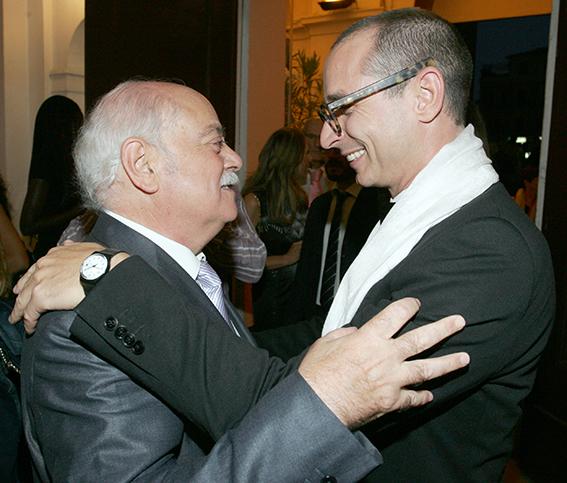 Francesco Micheli e il presidente Pettinari durante la prima dell'Aida