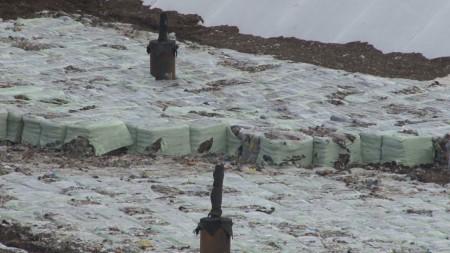 Le ecoballe che sono una caratteristica dell'abbancamento dei rifiuti della nuova discarica