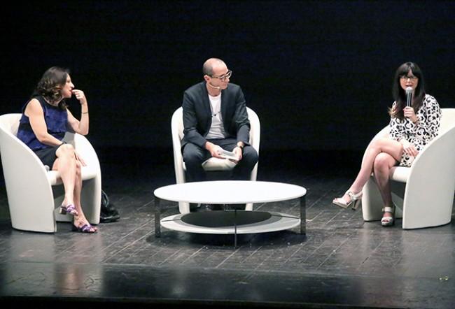 Oltre a Lucia Annibali e Francesco Micheli sul palco la scrittrice