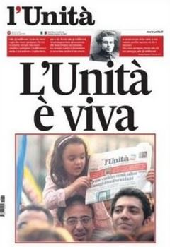 La prima pagina dell'Unità in edicola oggi