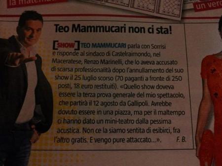 La risposta di Teo Mammuccari su Sorrisi e Canzoni