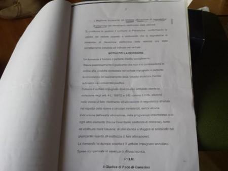 La sentenza del giudice di pace Alessandra Maria Guarnierei che annulla la multa per eccesso di velocità