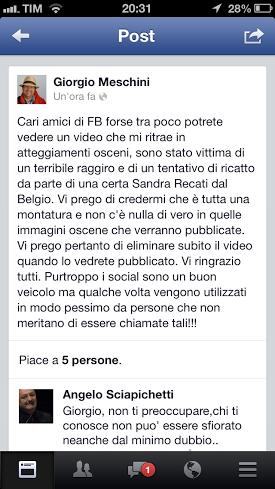Il post pubblicato su Facebook da Giorgio Meschini