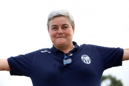 La presidentessa della Maceratese Maria Francesca Tardella ragginate per aver vinto il derby