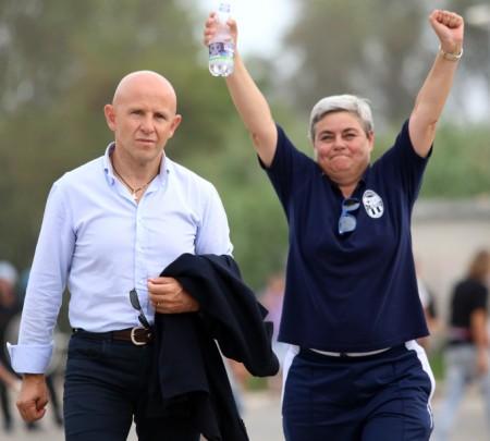 La presidentessa Maria Francesca Tardella festeggia all'uscita dallo stadiodopo la vittoria a Civitanova