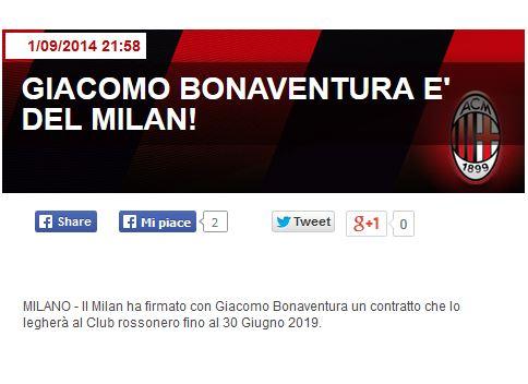 L'annuncio sul sito del Milan