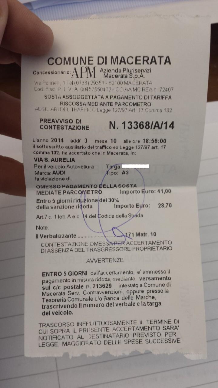 La contravvenzione di 41 euro