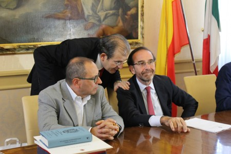 il vice ministro Nencini (a destra) con Costamagna e il sindaco Corvatta