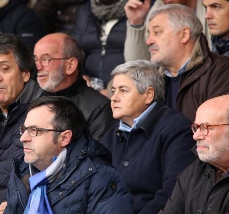 Alferio Canesin, in compagnia della presidente Tardella, durante una sfida della Maceratese
