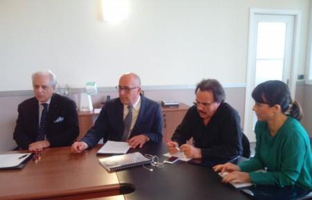 Nella foto da sinistra Mario Carlocchia della Map, Eliseo Monaco, Luigi Lucentini e Michela Catalini