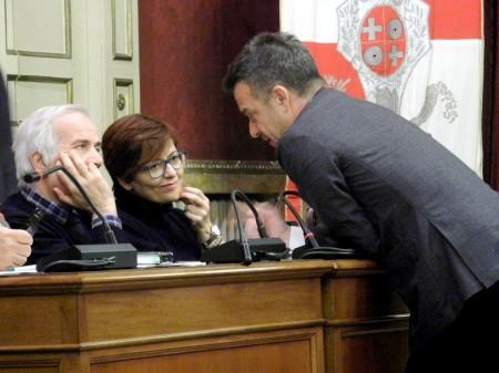 Fabrizio Nascimbeni in Consiglio comunale con Giorgio Ballesi e Anna Menghi