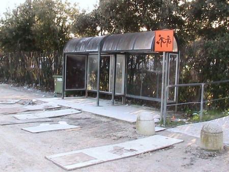 Davanti alla pensilina qualcuno ha sistemato delle pedane in legno per permettere ai bimbi di entrare nel bus senza sporcarsi
