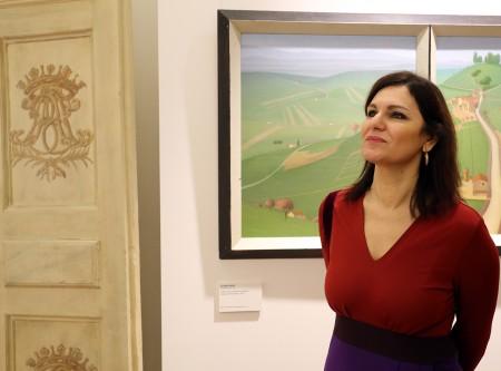 L'assessore Stefania Monteverde all'inaugurazione delle sale d'arte moderna a palazzo Buonaccorsi
