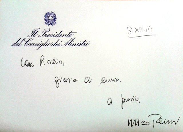 La lettera del presidente del consiglio Matteo Renzi