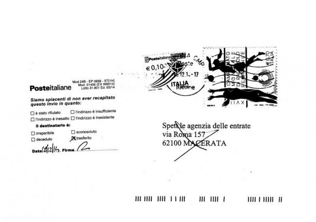 La lettera inviata all'Agenzia delle entrate e tornata indietro