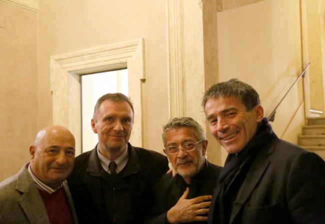 Guido Picchio con Duilio Giammaria (Tg1), Alberto Negri (Il Sole 24 Ore) e un amico