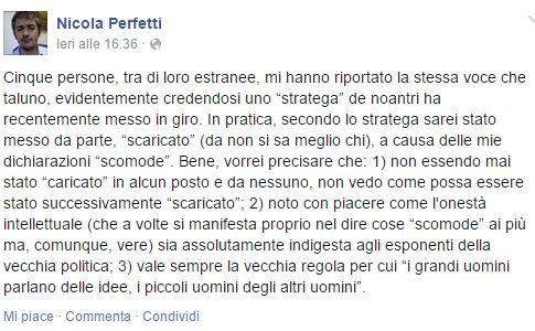 Il post su Facebook di Nicola Perfetti