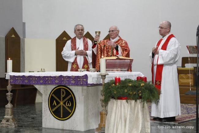 Il vescovo Monsignor Luigi Conti. Nell'omelia ha esortato l'amministrazione a velocizzare le pratiche per la Caritas diocesana