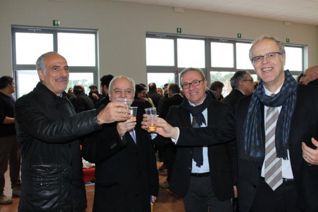Un brindisi fra Giulio Silenzi, Antonio Pettinari, Franco Capponi e Piergiuseppe Mariotti