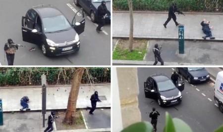 Alcune foto scattate da un testimone durante l'attentato alla sede di Charlie Hebdo